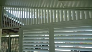 White Painted Shutter—A & B Lattice Patios in Bungalow QLD